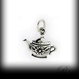925 Sterling Silver Flower Teapot Charm Vintage Crafting Pendant Jewelry Making Supplies - DIY for Necklace Bracelet Accessories by CharmingSS