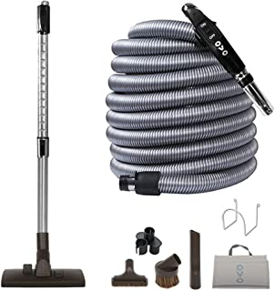Best Ovo KIT-LV30S-OVO Central Vacuum Hardwood Brush Cleaning Tools Attachment Kit Tile Floors and Hard Surfaces - Switch Control Crushproof Hose, 30ft, Black and grey Review