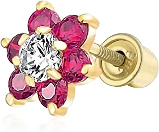 Tiny Cubic Zirconia Flower Shaped Safety Screwback CZ Stud Helix Cartilage Earring Real 14K Solid Gold 4MM More Colors