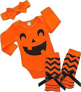 Dacestar 3PC Neugeborenes Mädchen Kleidung My First Halloween Print Kürbis Strampler Outfits Set mit Stirnband und Beinwärmer Sets