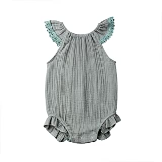 5a349eec8f38 Mornbaby Newborn Girl Clothes Baby Girl Ruffles Romper Lace Sleeveless  Outfit Grey Bodysuit Clothes