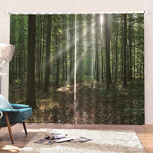 AKLIGSD Schlafzimmer Dekoschals Gardine Sunny Woods Bleistift-Falten-Vorhänge Energiesparende Geräuschreduzierungs-weiche Vorhänge für Schlafzimmer-Wohnzimmer-Hotel-Büro 140(W) x160(H) cm