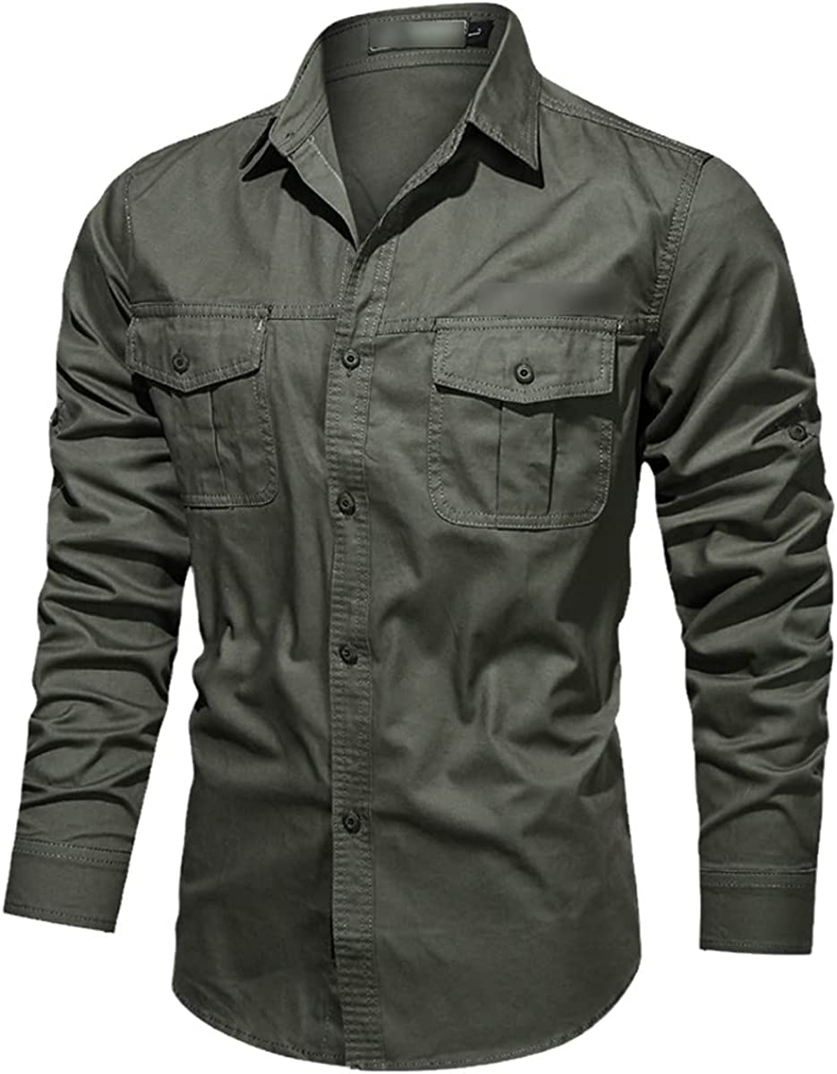 Pure Cotton Men's Shirt Casual Solid Color Stand-Up Collar Autumn Shirt Tooling Button Shirt