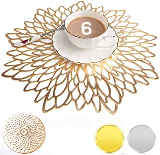 Metallic Perlen Platzset Tischset 8er Set Untersetzer gold Tischdeko Hochzeit
