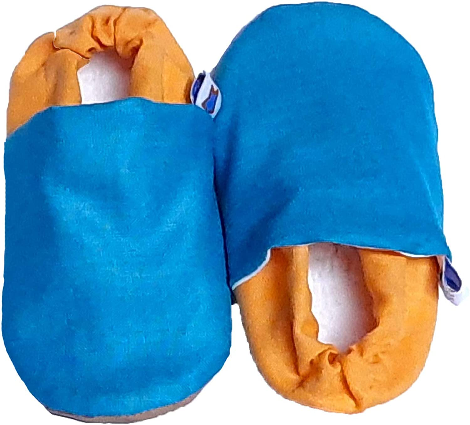 SKIPS Cotton Soft Sole Shoes, Indoor Shoes, for First Walker, Baby Girls Boys, Crib Shoes Non Slip Non Skid Bottom- Blue Yellow