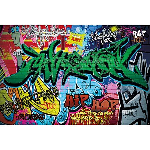 GREAT ART® XXL Poster Kinderzimmer – Graffiti – Wand Dekoration Bunte Zeichen Schriftzüge Pop Art Mauer Street Style Writing Hip Hop Wallpaper Street Art Wandposter Fotoposter (140 x 100 cm)