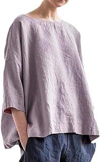 OTW Womens Vintage Beach Cover Up Loose Linen Solid Color Crew Neck Top Blouse T-Shirt