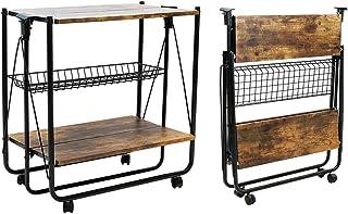 QEEIG Folding Bar Cart Farmhouse Rolling Kitchen Serving Island Carts with Wheels Dinning Islands Storage Baker Rack, Rust...