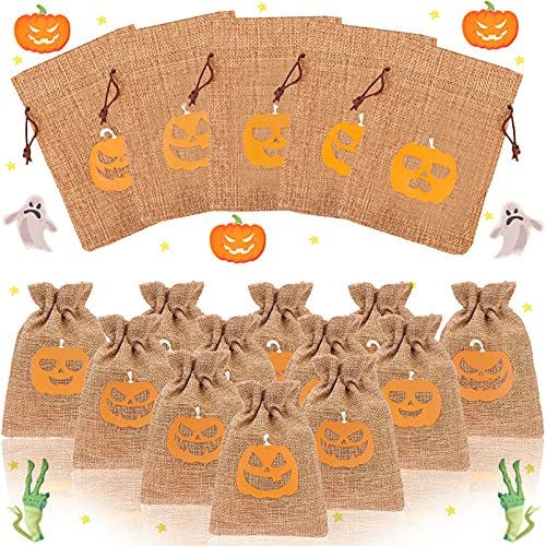 Vanproo 50 Pcs Halloween Burlap Gift Bags, Halloween Pumpkin Theme Goodie Treat Bags with Drawstrings Party Bags for Kids Halloween Party Supplies