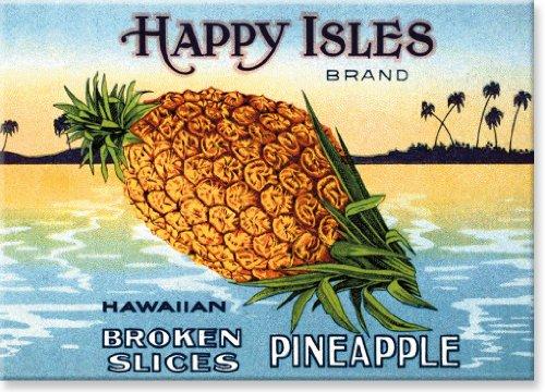 Etiqueta vintage de abacaxi da marca Happy Isles – Imã de geladeira colecionável de arte havaiana