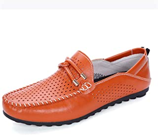 Xujw-shoes, Breathable Mans Loafers Leather Summer Driving Loafers for Men White Bright Blue Orange Moccasins Boat Shoes Slip On Synthetic Leather Perforated Stitching