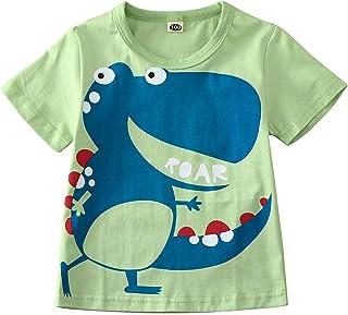 Topgrowth Bambino Ragazzi Top Manica Corta T-Shirt con Stampa di Dinosauri Camicetta Maglietta Bianca