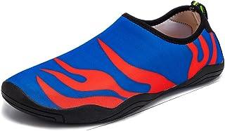 حذاء رياضي مائي خفيف الوزن للرجال والنساء من MIXSNOW مطبوع عليه حافي القدم سريع الجفاف مع فتحات تصريف للسباحة والمشي والشاطئ