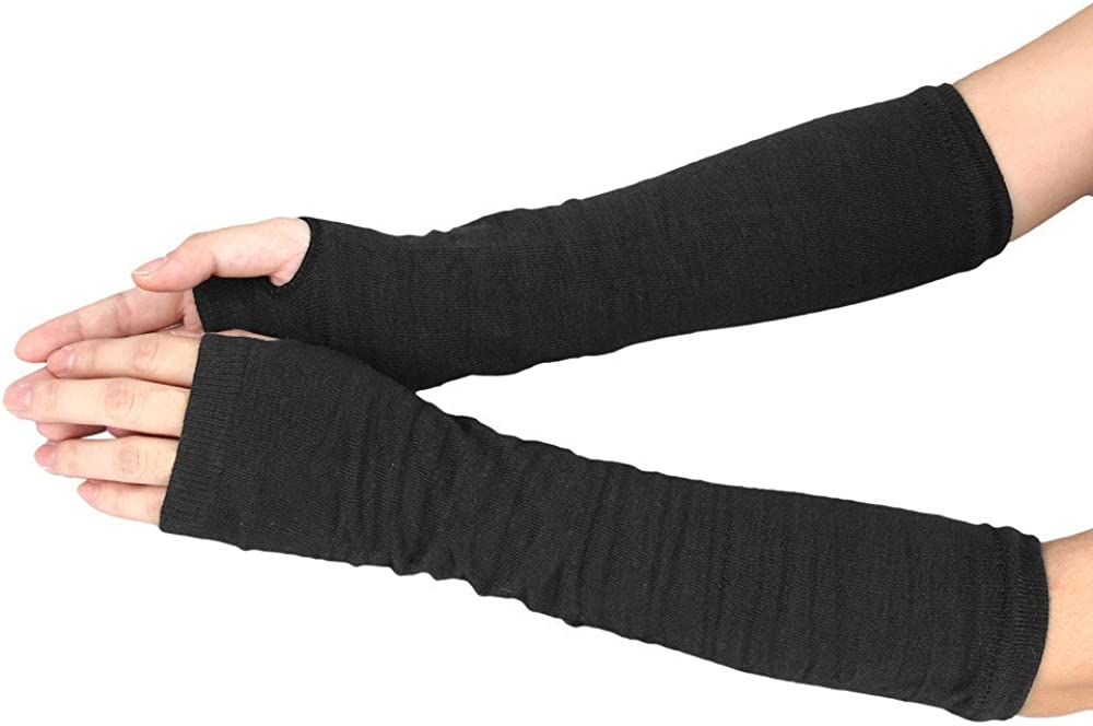 Womens Winter Wrist Arm Hand Warmer Knitted Long Fingerless Gloves Mitten With Thumb Hole
