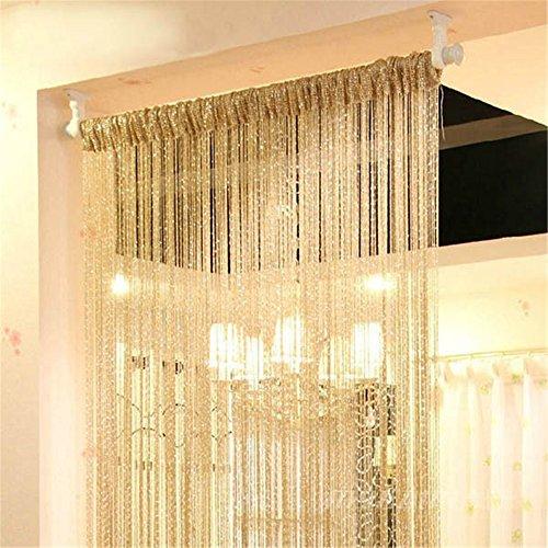 Glitzer-Fadengardine – Tür Fenster Fenster Fenster Raumteiler Insektenrollo Hochzeit Club Party Decor DIY Hochzeit Weihnachten Ornamente, gelb, 100*200CM