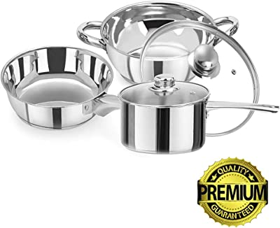 iLife Deluxe Stainless Steel Gas Compatible Induction Base Casserole 5 Piece Cookware Set includes Pots and Pans Chrome with Glass Lid Covers.