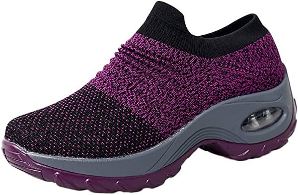 Kauneus Slip On breath Mesh Walking Shoes Women Fashion 运动鞋舒适坡跟厚底乐福鞋