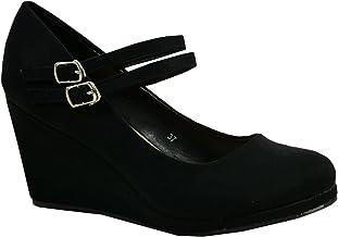 Amazon.co.uk: Black Wedge Shoes for Women