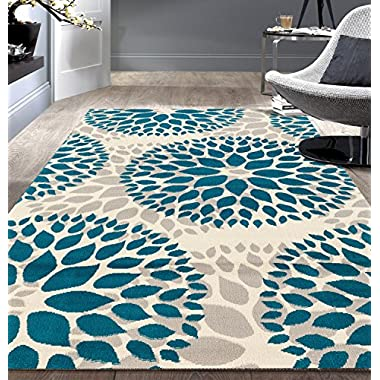 Rugshop Modern Floral Circles Design Area Rugs 7'6  X 9' 5  Blue