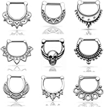 D&M Jewelry 9pcs or 12pcs Stainless Steel Nose Ring 14g 16g Septum Clicker Bull Ring Nose Piercing