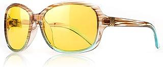 SIPHEW Nacht-rijbril voor Dames, Antireflectie Nachtzichtbril Gepolariseerde HD Gele Lens - 100% UVA/UVB-bescherming