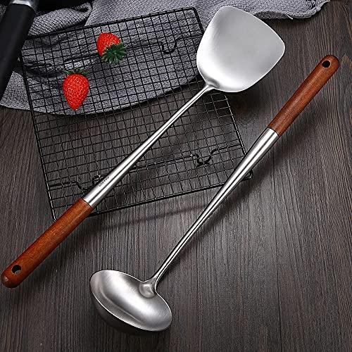 Espátula Wok de acero inoxidable con mango de madera resistente al calor, utensilios de cocina, volteador de tortitas para huevos, tortillas, hamburguesas (espátula+cuchara de sopa)