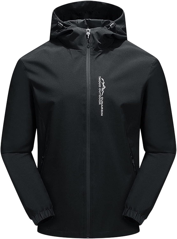 Beshion Jacket for Men Hooded Waterproof Rain Jacket Outdoor Thin Windbreaker Hiking Outwear Coat for Fall Winter