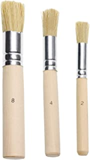 Penta Angel Wooden Stencil Brush Set 3Pcs Natural Bristle Template Paint Brushes for Acrylic Oil Watercolor Art Painting on Wood Wall Paper and Crafts Project DIY