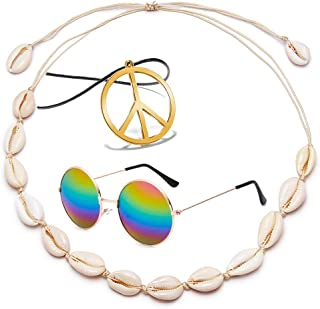 Hawaii Beach Shell Choker Necklace Sunglasses and Peace Sign Necklace Set for Women Girls Summer Handmade Necklace
