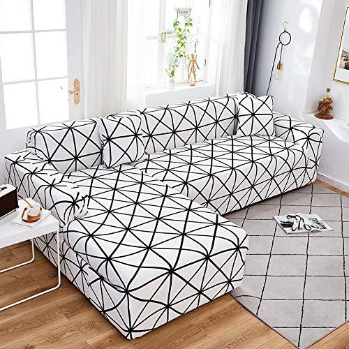 ASCV Fodere per divani angolari Geometriche per Soggiorno Fodere Elastiche per Divano Fodere per Divano Elasticizzate Asciugamano a Forma di L Bisogno di Acquistare 2 Pezzi A6 1 Posto
