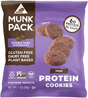 Munk Pack Double Dark Chocolate Mini Protein Cookies with 6 Grams of Protein | Cookie Snack Pack | Vegan | Gluten, Dairy and Soy Free | Chewy | 8 Pack