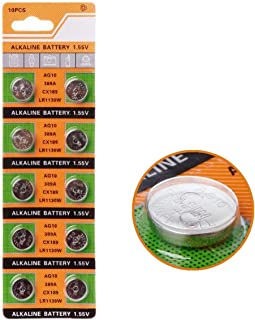Cotchear 10pcs/Card AG10 for Watch Toys Remote 189 LR54 Cell Coin Alkaline Button Battery 1.5V SR54 389 189 LR1130 389 SR1130 Coin Batteries