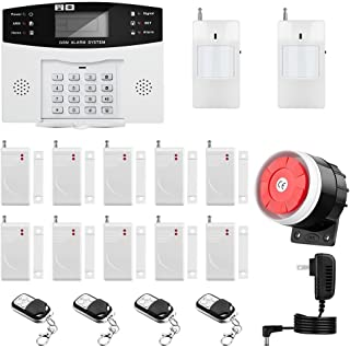 Thustar Home Alarm System Wirelss GSM Security System Kit Remote Control Intelligent LED Display Voice Prompt House Office Business Burglar Alarm Auto Dial 120DB Siren