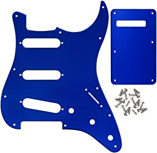 IKN 11 Hole SSS Electric Guitar Strat Pickguard Backplate with Screws for Fender Standard Stratocaster Modern Style Guitar Parts, 1Ply Blue Mirror