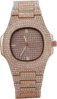 Prettyia Men's Crystal Quartz Watch Casual Business Wristwatch Waterproof - Luxury Full Rhinestone Watch for Boys Gifts