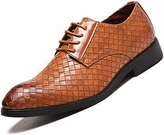 Men's Plus Size Plaid Oxford Shoes Formal Shoes (Color : Yellow, Size : 38)