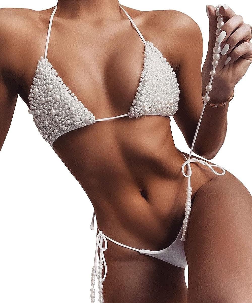 Olaimisord Women's Two Piece Pearls Sparkly Swimsuit Halter Swimwear String Triangle Bikini Sets