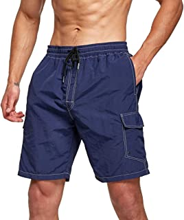 Tansozer Mens Swimming Shorts with Multi-Pockets Swim Trunks Quick Dry