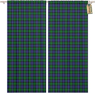 Golee Window Curtain Green Patterned of The Black Watch Military Tartan Blue Home Decor Rod Pocket Drapes 2 Panels Curtain 104 x 96 inches