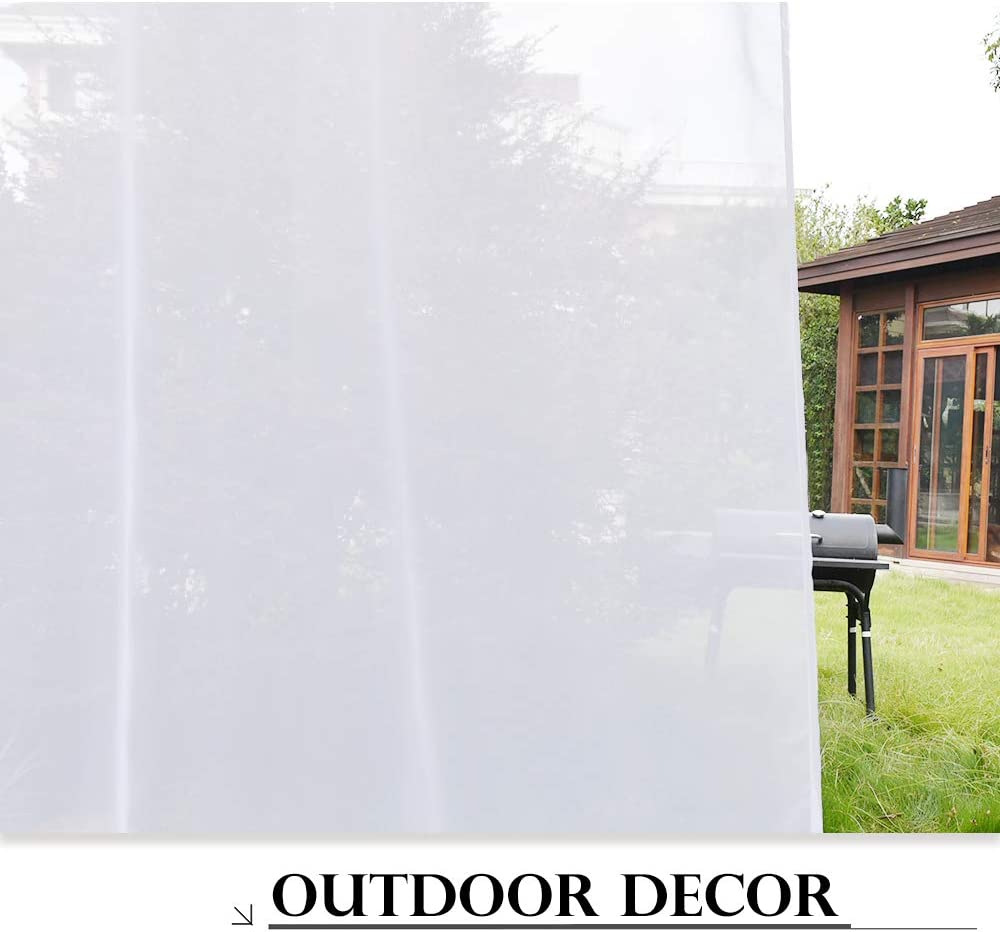 White Sheer Curtain Outdoor Voile Water Repellent Exterior Tab Top Gauze Drapes for Porch with Rope Tieback Single Panel 54 by 96 in White PONY DANCE Patio Gazebo Curtains
