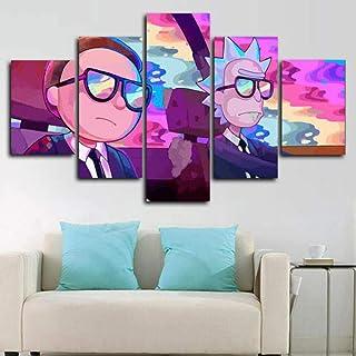 Bild HAOSHUNDA HSD Wandkunst Rick and Morty Poster auf Leinwand Wandkunst Dekorationen Wohnzimmer Wand fertig zum Aufh/ängen /Ölgem/älde Poster und Drucke