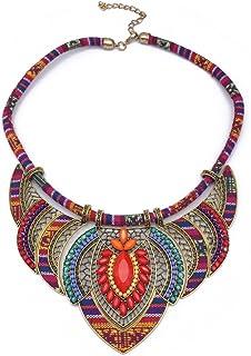 Bestoyard - Collana girocollo, etnico, artigianale, multicolore, perline Boho, gioiello per donna (rosso).