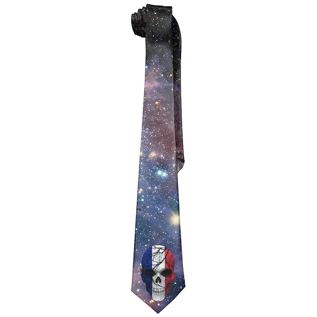 ZOZGETU Necktie, Cool French Flag Broken Skull Mens Fashion Skinny Necktie Ties Novelty Necktie Silk
