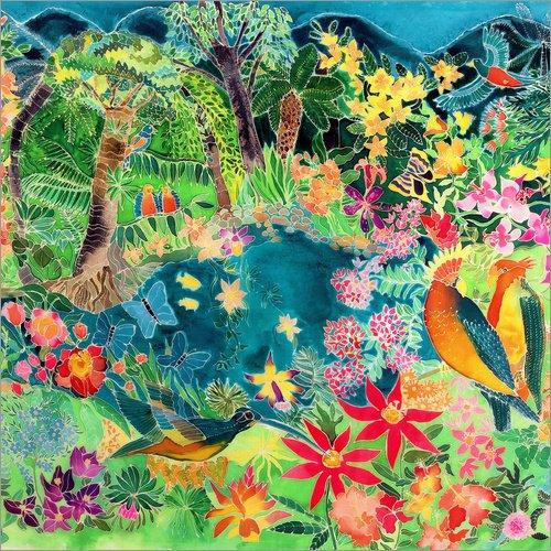 Posterlounge Acrylglasbild 50 x 50 cm: Karibischer Dschungel, 1993 von Hilary Simon/Bridgeman Images - Wandbild, Acryl Glasbild, Druck auf Acryl Glas Bild