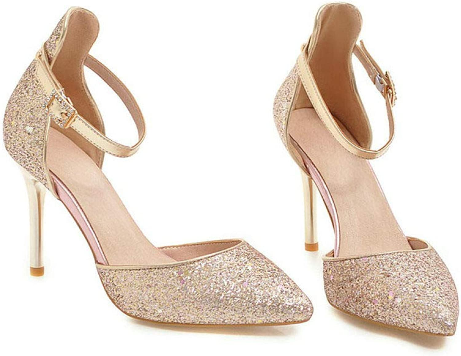 GanQuan2018 Women Pumps,Closed Pointed Toe Thin High Heels Ankle Buckle Sexty Sequins shoes