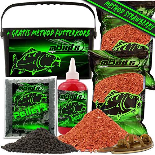 Angel-Berger Magic Baits Method Feeder Futterset Groundbait Liquid Pellets Futterkorb Futtermittel (Strawberry)