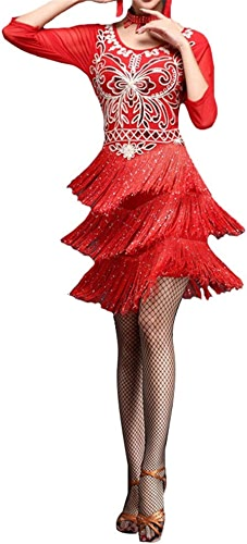 MISHUAI Robe de Danse pour Femmes Femmes Mousseux Sequin Fleur Frangé Flapper Robe De Danse Latine à Manche Manches Glands Salle De Danse Dancewear Concours De Fête Costumes Jupe Perforhommece de Danse