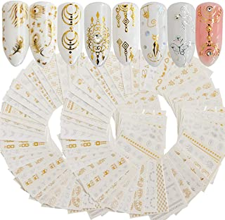 WOKOTO 60 Sheets Golden Silvery Nail Art Waterslide Decals Foil Nail Decorations Cat Flower Feather Manicure Sticker Set
