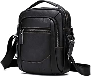 Men's Shoulder Bag, Popoti Handbag Crossbody Bag Leather Shopping School Backpack Messenger Carrying Bags Tote Wallet Multifunction Small Pocktes (Black)