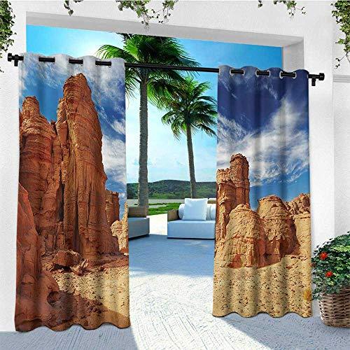 leinuoyi Desert, Sun Zero Outdoor Curtains, Bizarre Sandstone Cliffs in Sahara Desert Tassili NAjjer Algeria, for Gazebo W96 x L96 Inch Navy Blue Mustard Orange
